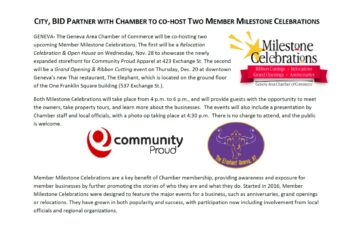 CITY, BID PARTNER WITH CHAMBER TO CO-HOST TWO MEMBER MILESTONE CELEBRATIONS