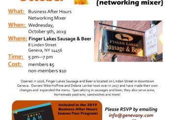 October Business After Hours- Finger Lakes Sausage & Beer